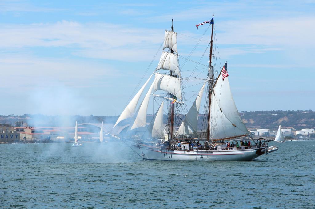 Exy Johnson on San Diego Bay - Festival of Sail