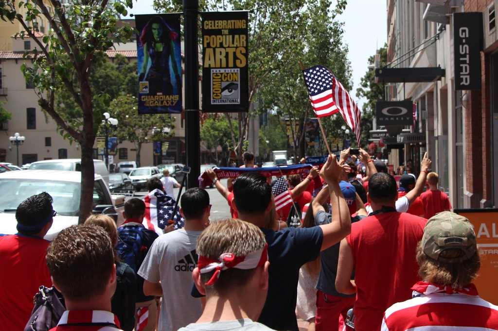 Waving the Red, White and Blue - - American Outlaws San Diego March to the Match